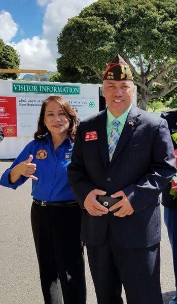 2017 September 9 Cdr Jonathan Hoomanawanui and SVP Miriam Fernandez WW II Memorial