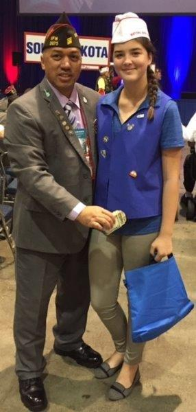 2017 State Commander J, Ho'omanawanui with National Home for Children's Buddy Poppy Girl in New Orleans