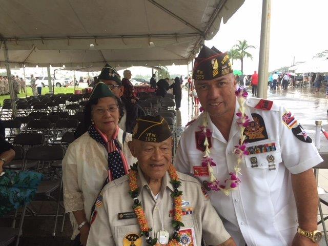 2018 Feburary 7 CDR Ho'omanawanui w Congressional Gold Medal WWII Veteran, Post 1572, Domingo Los Banos