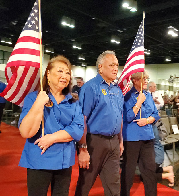 2019 August 5 Aux State President Taka Shiroma escorted by Gerri Enos & Gerri Kawai at the National Convention.